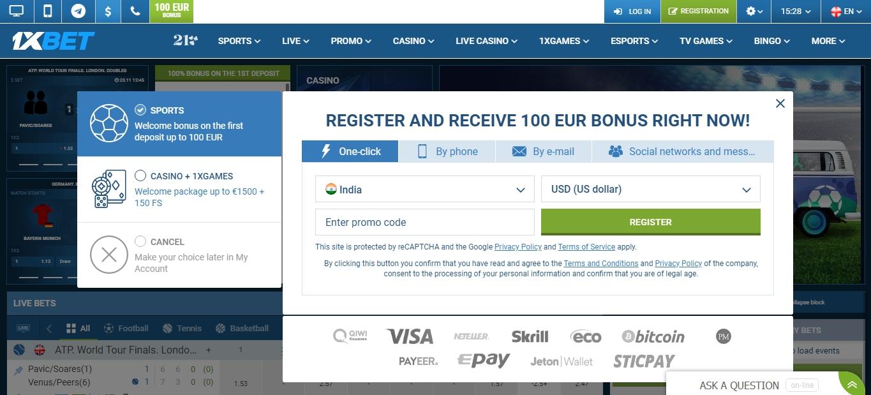 1xBet registration via One Click